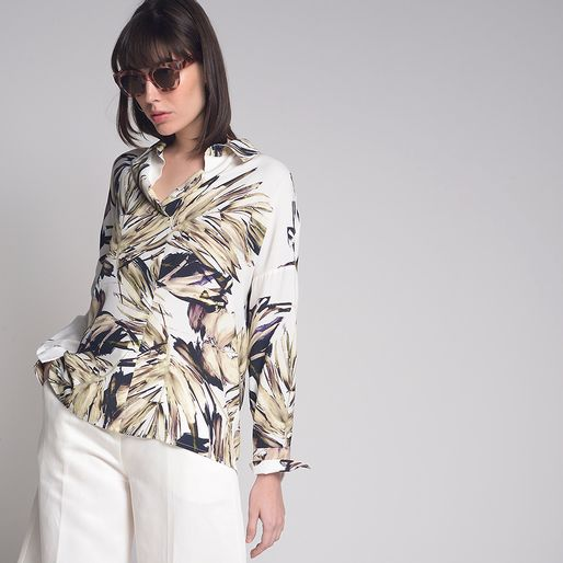 Camisa-Ampla-Foliage-Off-White